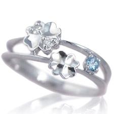 ピンキーリング 11月誕生石 ブルートパーズ ダイヤモンド K10ホワイトゴールド K10WG 指輪 重ねづけ風 2連 リングサイズ マイナス号数対応 0号 1号 2号 3号 4号 5号 6号から9号「ピュア・クローバー」送料無料/製造オーダー品 約20日間納期