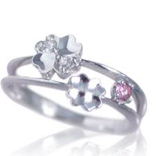 ピンキーリング 10月誕生石 ピンクトルマリン ダイヤモンド K10ホワイトゴールド K10WG 指輪 重ねづけ風 2連風 リングサイズ マイナス号数対応 0号 1号 2号 3号 4号 5号 6号から9号「ピュア・クローバー」/製造オーダー品 約20日間納期