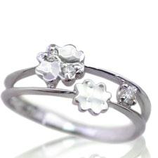 ピンキーリング 4月誕生石 ダイヤモンド K10ホワイトゴールド K10WG 指輪 重ねづけ風 2連風 リングサイズ マイナス号数対応 0号 1号 2号 3号 4号 5号 6号から9号「ピュア・クローバー」/製造オーダー品 約20日間納期