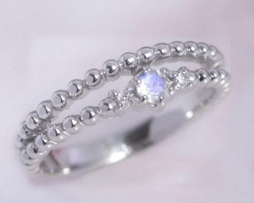 ピンキーリング 6月誕生石 ブルー ムーンストーン 指輪 K10/K18ホワイトゴールド 10k 18k レディース ダイヤモンド 2連風 二連風 華奢 バースディ・ティアラ」/製造オーダー品 約20日間納期