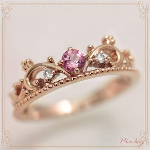 ピンキーリング ピンクトルマリン 10月誕生石 ダイヤモンド0.02ct K10ピンクゴールド ティアラ 指輪 リングサイズ 0号 1号 2号 3号 4号 5号 6号から9号 ユワイエット 国産 日本製/製造オーダー品 約20日間納期
