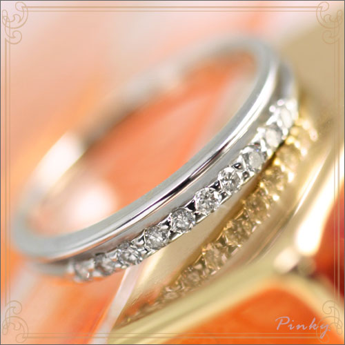 ピンキーリング プラチナ(PT900)ダイヤモンド 0.1ct(カラット)二連ピンキーリング エクリュ・アコール【送料無料】 国産 日本製/製造オーダー品 約20日間納期