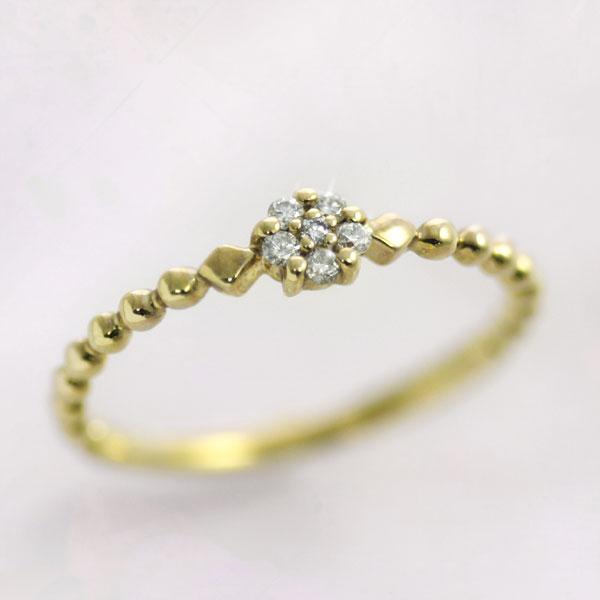 ピンキーリング 4月誕生石 ダイヤモンド0.05ct【K10/K18イエローゴールド(K10YG/K18YG)】ピンキーリング「トゥルー・アウラ」 国産 日本製/製造オーダー品 約20日間納期