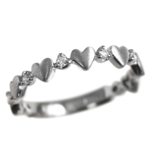ピンキーリング 4月誕生石 ダイヤモンド0.07ct「ルフィリア・ハート」【K10ホワイトゴールド(K10WG)】ピンキーリング 国産 日本製/製造オーダー品 約20日間納期