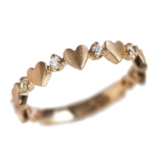 ピンキーリング 4月誕生石 ダイヤモンド0.07ct「ルフィリア・ハート」【K10ピンクゴールド(K10PG)】ピンキーリング 国産 日本製/製造オーダー品 約20日間納期
