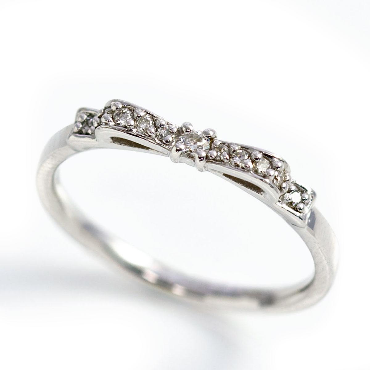 ピンキーリング 4月誕生石 ダイヤモンド0.08ct リボン ピンキーリング(指輪) 【K10ホワイトゴールド(K10/K18WG)/PG/YG】「シルヴィエ」【送料無料】 国産 日本製/製造オーダー品 約20日間納期