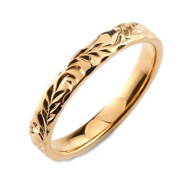 【送料無料】メンズ ハワイアンジュエリー ハワイアン リング ピンクゴールド シンプル k18 ストレート ヒラウチ 地金リング 彫金 手彫り 結婚指輪 エンゲージリング 葉 ハンドメイド 18k 18金 3mm ハワイ リーフ
