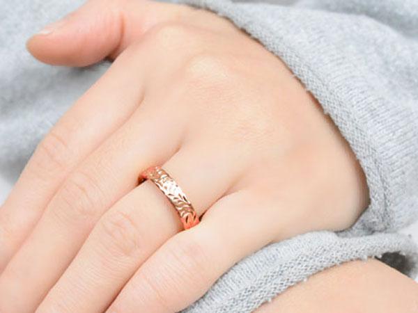 メンズ ハワイアンジュエリー ハワイアン リング ピンクゴールド シンプル k18 ストレート ヒラウチ 葉っぱ 地金リング 彫金 手彫り 結婚指輪 ハンドメイド 18k 18金 葉 4mm ハワイ リーフ  サマー