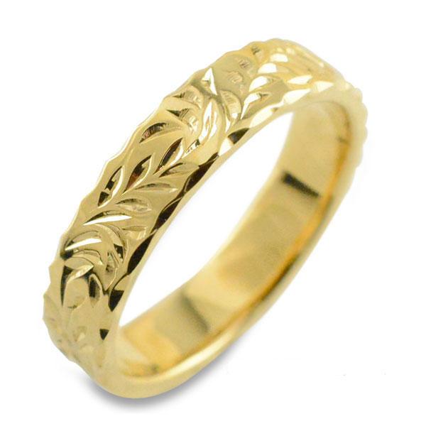 【送料無料】メンズ ハワイアンジュエリー ハワイアン リング イエローゴールド シンプル k18 ストレート ヒラウチ 葉っぱ 地金リング 彫金 手彫り 結婚指輪 ハンドメイド 18k 18金 葉 4mm ハワイ リーフ