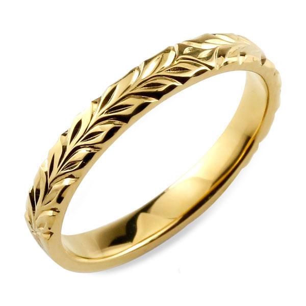 メンズ ハワイアンジュエリー ハワイアン リング イエローゴールド シンプル k18 ストレート ヒラウチ 地金リング 彫金 手彫り 結婚指輪 ハンドメイド 18k 18金 3mm ハワイ マイレ