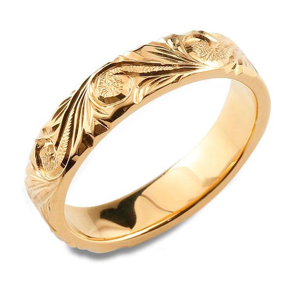 ハワイアンジュエリー ハワイアン レディース リング ピンクゴールド シンプル k18 ストレート ヒラウチ 地金リング 彫金 手彫り 結婚指輪 エンゲージリング ハンドメイド 18k 18金 4mm ハワイ スクロール