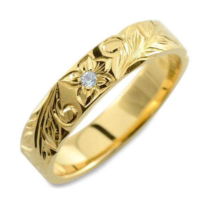 メンズ ハワイアンジュエリー アクアマリン ハワイアン リング イエローゴールド k18 ストレート ヒラウチ 誕生石 彫金 手彫り 指輪 ハンドメイド 18k 18金 プルメリア 4mm ハワイ