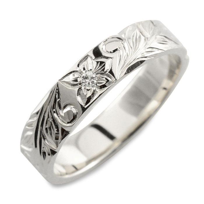 ハワイアンジュエリー メンズ ダイヤモンド シルバー ハワイアン リング ストレート sv sv925 SILVER ヒラウチ 地金リング 彫金 手彫り ダイヤ 指輪 ハンドメイド プルメリア 4mm ハワイ クリスマス xmas