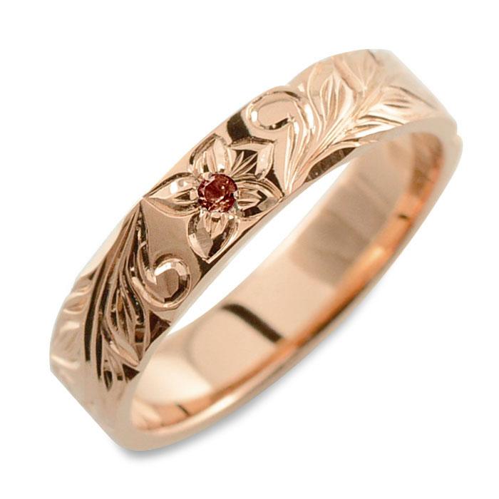 メンズ ハワイアンジュエリー ガーネット ハワイアン リング ピンクゴールド k18 ストレート ヒラウチ 誕生石 1月 彫金 手彫り 指輪 ハンドメイド 18k 18金 プルメリア 4mm ハワイ