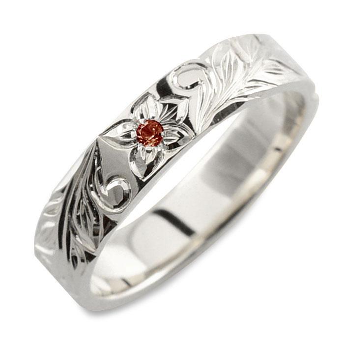 ガーネット 指輪 ヒラウチ ハワイアンジュエリー メンズ 手彫り リング 誕生石 ストレート シルバー シルバー925 プルメリア 4mm 彫金 1月 ハワイアン sv925 ハンドメイド ハワイ
