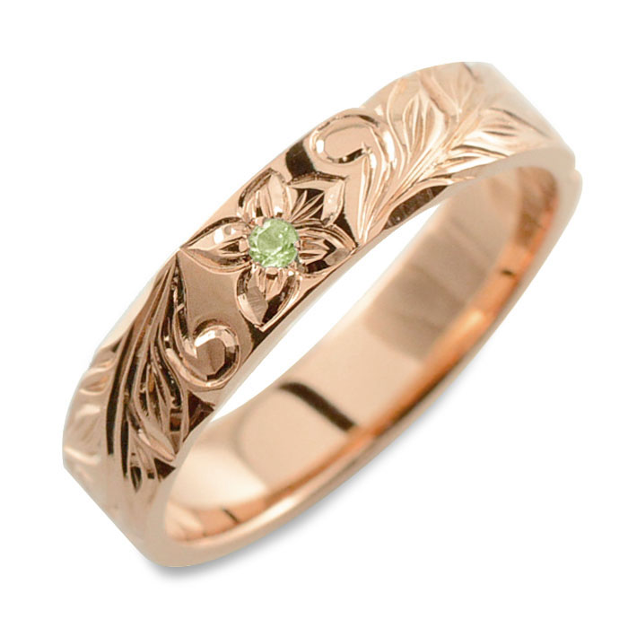 【送料無料】メンズ ハワイアンジュエリー ペリドット ハワイアン リング ピンクゴールド k18 ストレート ヒラウチ 誕生石 8月 彫金 手彫り 指輪 ハンドメイド 18k 18金 プルメリア 4mm ハワイ