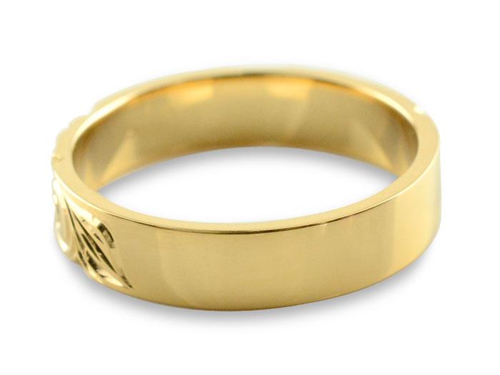 メンズ  ハワイアンジュエリー ガーネット ハワイアン リング イエローゴールド k18 ストレート ヒラウチ 誕生石 1月 彫金 手彫り 指輪 ハンドメイド 18k 18金 プルメリア 4mm ハワイ