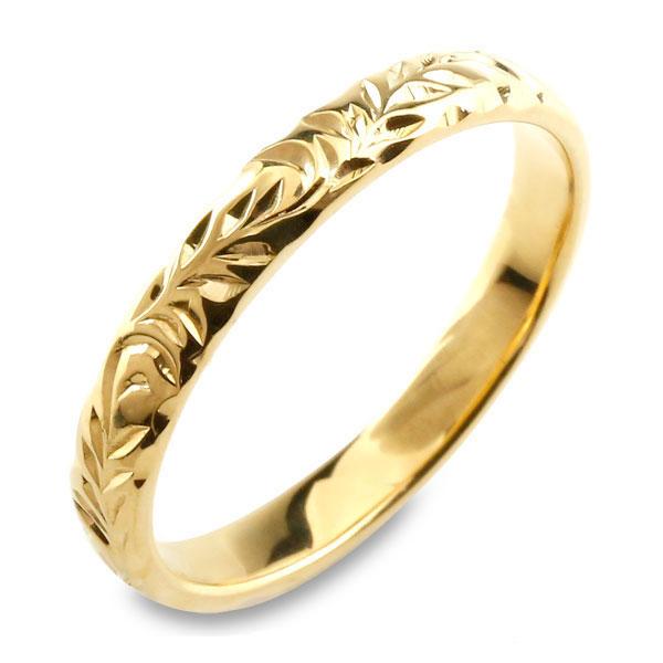 【送料無料】メンズ ハワイアンジュエリー ハワイアン レディース リング イエローゴールド シンプル k18 ストレート 甲丸 地金リング 彫金 手彫り 結婚指輪 葉 ハンドメイド リーフ 18k 18金 3mm ハワイ リーフ