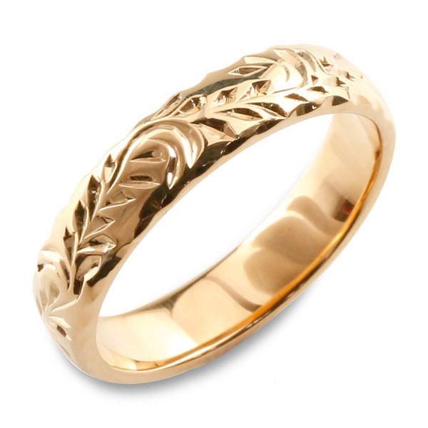 【送料無料】メンズ ハワイアンジュエリー ハワイアン リング ピンクゴールド シンプル k18 ストレート 甲丸 葉 地金リング 彫金 手彫り 結婚指輪 エンゲージリング ハンドメイド 18k 18金 リーフ 4mm ハワイ