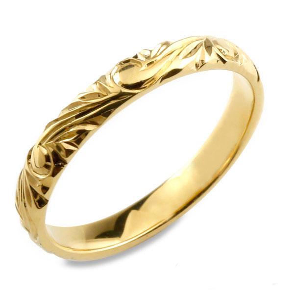 【送料無料】メンズ ハワイアンジュエリー ハワイアン リング イエローゴールド シンプル k18 ストレート 甲丸 地金リング 彫金 手彫り 結婚指輪 波 ハンドメイド 18k 18金 3mm ハワイ スクロール