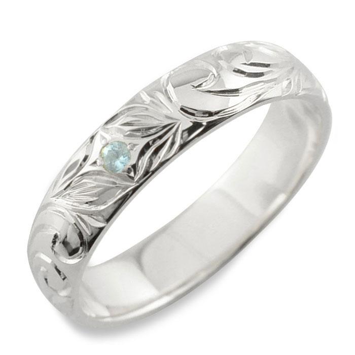 メンズ ハワイアンジュエリー アクアマリン ハワイアン リング ホワイトゴールド k18 スクロール 波 リーフ 甲丸 誕生石 3月 彫金 手彫り 指輪 ハンドメイド 18k 18金 4mm ハワイ