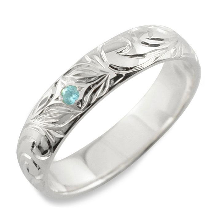 メンズ ハワイアンジュエリー ブルートパーズ ハワイアン リング シルバー sv925 スクロール 波 リーフ 甲丸 誕生石 11月 彫金 手彫り 指輪 ハンドメイド シルバー925 4mm ハワイ