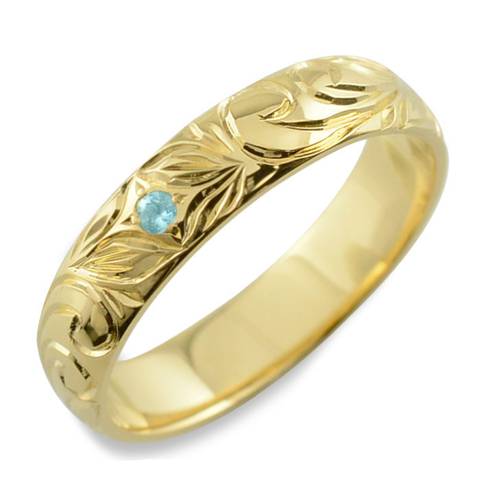メンズ ハワイアンジュエリー ブルートパーズ ハワイアン リング イエローゴールド k18 スクロール 波 リーフ 甲丸 誕生石 11月 彫金 手彫り 指輪 ハンドメイド 18k 18金 4mm ハワイ
