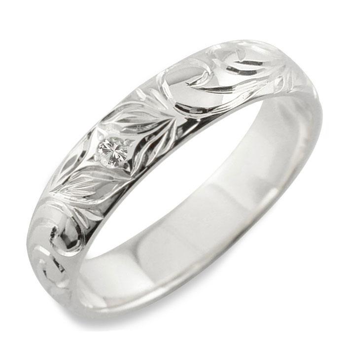 【送料無料】メンズ ハワイアンジュエリー ダイヤモンド ハワイアン リング シルバー sv925 スクロール 波 リーフ 甲丸 誕生石 4月 彫金 手彫り 指輪 ハンドメイド シルバー925 4mm ハワイ クリスマス Xmas