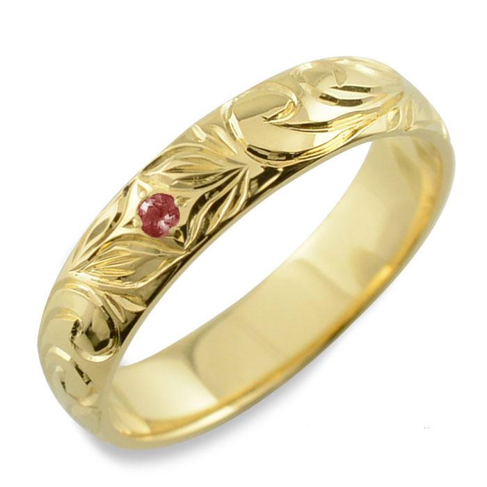 メンズ ハワイアンジュエリー ガーネット ハワイアン リング イエローゴールド k18 スクロール 波 リーフ 甲丸 誕生石 1月 彫金 手彫り 指輪 ハンドメイド 18k 18金 4mm ハワイ