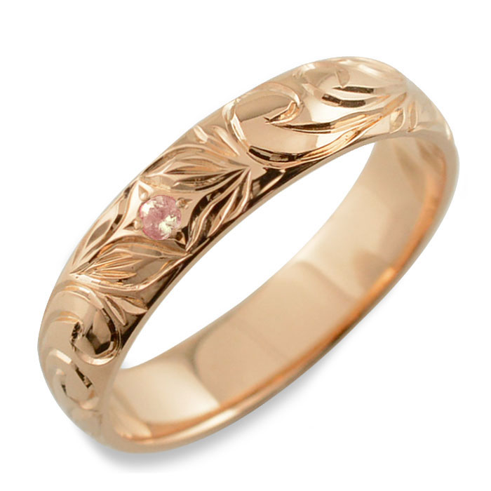 メンズ ハワイアンジュエリー ピンクサファイア ハワイアン リング ピンクゴールド k18 スクロール 波 リーフ 甲丸 誕生石 9月 彫金 手彫り 指輪 ハンドメイド 18k 18金 4mm ハワイ