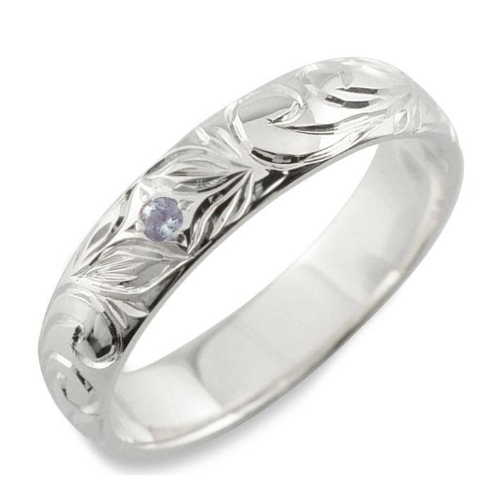 【送料無料】メンズ ハワイアンジュエリー タンザナイト ハワイアン リング シルバー sv925 スクロール 波 リーフ 甲丸 誕生石 12月 彫金 手彫り 指輪 ハンドメイド シルバー925 4mm ハワイ