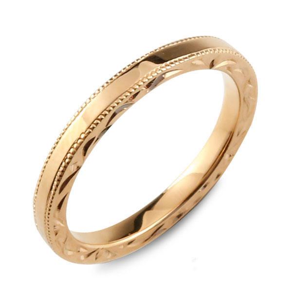 【送料無料】メンズ ハワイアンジュエリー ハワイアン リング ピンクゴールド シンプル k18 ストレート ミルウチ 地金リング 彫金 手彫り 結婚指輪 ハンドメイド 18k 18金 2mm ハワイ ミル