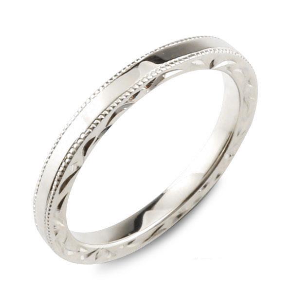 【送料無料】メンズ ハワイアンジュエリー ハワイアン リング ホワイトゴールド シンプル k18 ストレート ミルウチ 地金リング 彫金 手彫り 結婚指輪 ハンドメイド 18k 18金 2mm ハワイ ミル