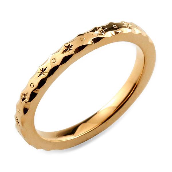 【送料無料】 レディース リング ピンクゴールド シンプル k18 ストレート 地金リング 彫金 手彫り 結婚指輪 エンゲージリング ハンドメイド 18k 18金 2mm ハワイアン クリスマス Xmas