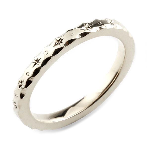 メンズ リング ホワイトゴールド シンプル k18 ストレート 地金リング 彫金 手彫り 結婚指輪 ハンドメイド 18k 18金 2mm ハワイアン