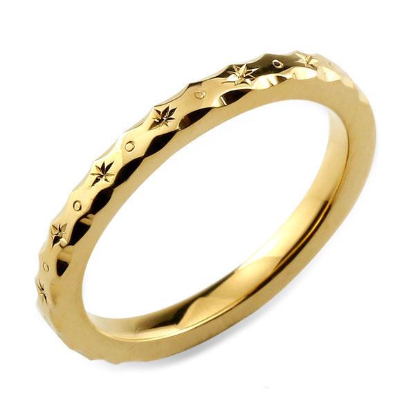 【送料無料】 レディース リング イエローゴールド シンプル k18 ストレート 地金リング 彫金 手彫り 結婚指輪 エンゲージリング ハンドメイド 18k 18金 2mm ハワイアン クリスマス Xmas