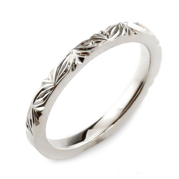 【送料無料】メンズ ハワイアンジュエリー ハワイアン リング ホワイトゴールド シンプル k18 ストレート 地金リング 彫金 手彫り 結婚指輪 ハンドメイド 18k 18金 2mm ハワイ