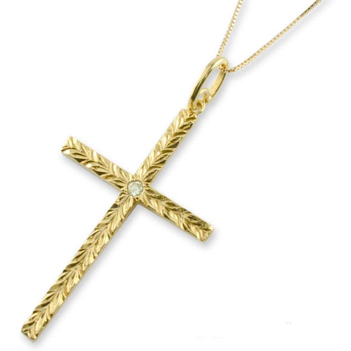 【送料無料】ハワイアンジュエリー クロス ネックレス ゴールド k18 18k 18金 イエローゴールド マイレ ペリドット ハワイアン 彫金 クロスネックレス ペンダント 天然石 誕生石 十字架 葉 クリスマス Xmas