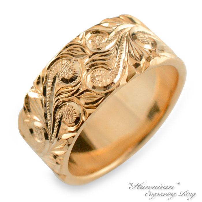 ハワイアンジュエリー ハワイアン レディース リング ピンクゴールド 幅広 k18 スクロール マイレ ストレート ヒラウチ 地金リング 彫金 手彫り 結婚指輪 エンゲージリング ハンドメイド 18k 18金 8mm ハワイ