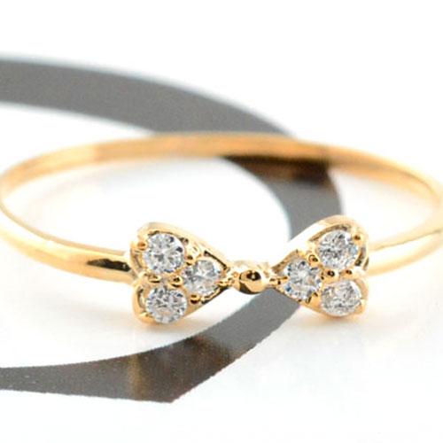【送料無料】リボンリング ピンキーリング ダイヤモンド リボン ゴールド ダイヤモンドリング 指輪 ダイヤモンド ピンクゴールド k18 ダイヤ レディース クリスマス Xmas