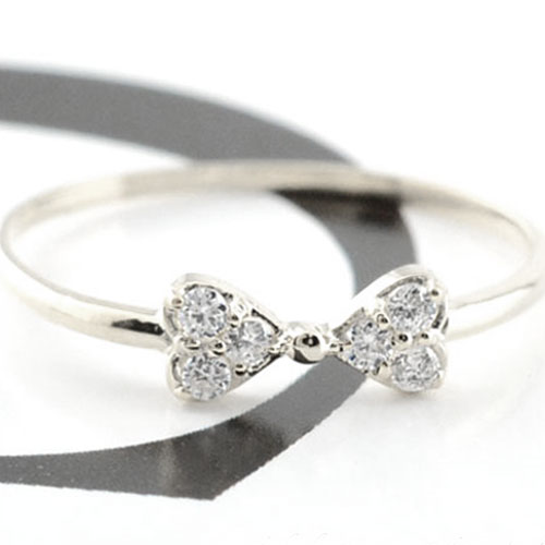 【送料無料】リボンリング ピンキーリング ダイヤモンド リボン ゴールド ダイヤモンドリング 指輪 ダイヤモンド ホワイトゴールド k10 ダイヤ 10k レディース クリスマス Xmas