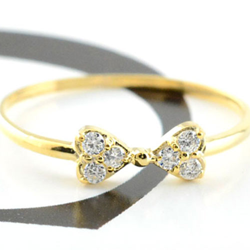 【送料無料】リボンリング ピンキーリング ダイヤモンド リボン ゴールド ダイヤモンドリング 指輪 ダイヤモンド イエローゴールド k10 ダイヤ 10k レディース クリスマス Xmas