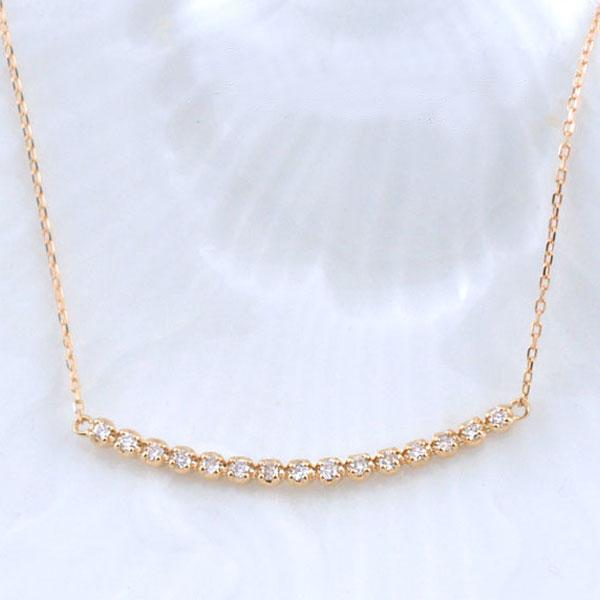 ネックレス ダイヤモンド レディース ペンダント ピンクゴールド ダイヤ 18k 18金 pendant 0.1ct 華奢 シンプル 記念 誕生日 ライン スキンジュエリー