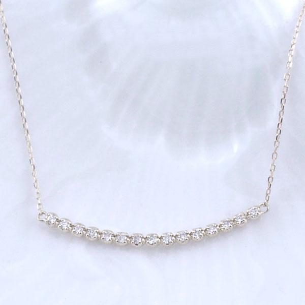 ネックレス ダイヤモンド レディース ペンダント ホワイトゴールド ダイヤ 18k 18金 pendant 0.1ct 華奢 シンプル 記念 誕生日 ライン スキンジュエリー