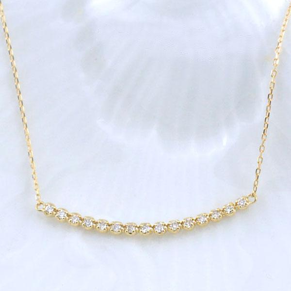 ネックレス ダイヤモンド レディース ペンダント イエローゴールド ダイヤ 18k 18金 pendant 0.1ct 華奢 シンプル 記念 誕生日 ライン スキンジュエリー