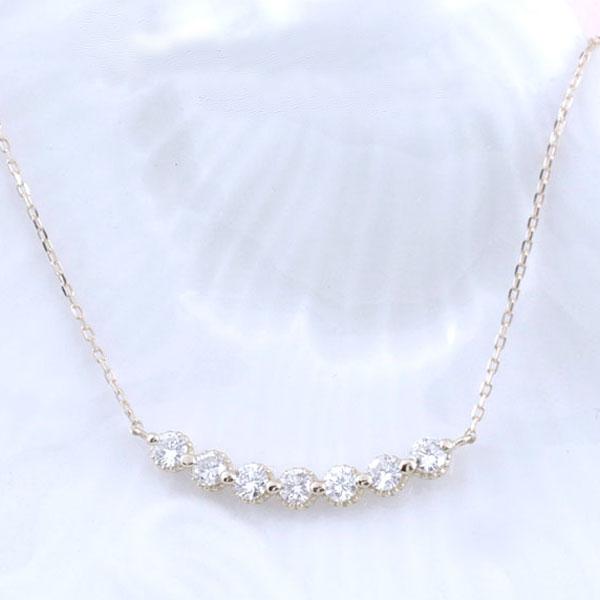 ネックレス ダイヤモンド レディース ペンダント ホワイトゴールド ダイヤ 18k 18金 pendant 0.3ct 華奢 シンプル 記念 セブンストーン 誕生日 ライン スキンジュエリー