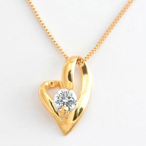 ネックレス ダイヤモンド 一粒 ハート K18 ペンダント 18k ピンクゴールド 0.1ct オープンハート ダイヤモンドペンダント 華奢 ペンダント シンプル プレゼントに 1粒