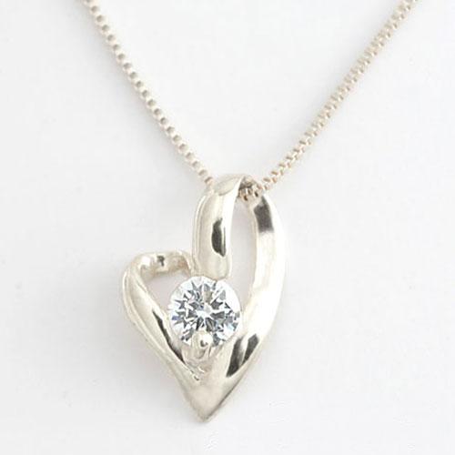ネックレス ダイヤモンド 一粒 ハート ペンダント プラチナ 0.1ct オープンハート ダイヤモンドペンダント 華奢 ペンダント pt900 シンプル プレゼントに 1粒