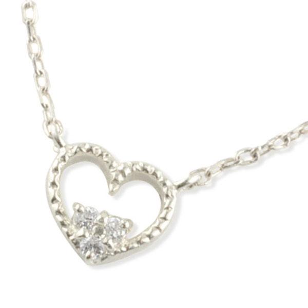 ネックレス ダイヤモンド プラチナ ハート レディース ハートモチーフ ミルウチ ペンダント ダイヤ 華奢 記念 誕生日