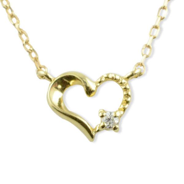 ネックレス ダイヤモンド k18 ハート レディース イエローゴールド ハートモチーフ 1粒 ペンダント ゴールド ダイヤ 18k 18金 華奢 記念 誕生日